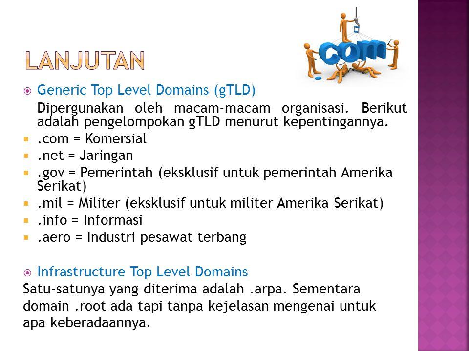  Generic Top Level Domains (gTLD) Dipergunakan oleh macam-macam organisasi. Berikut adalah pengelompokan gTLD menurut kepentingannya. .com = Komersi