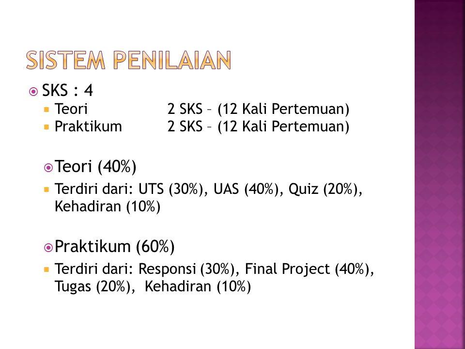  SKS : 4  Teori2 SKS – (12 Kali Pertemuan)  Praktikum2 SKS – (12 Kali Pertemuan)  Teori (40%)  Terdiri dari: UTS (30%), UAS (40%), Quiz (20%), Ke