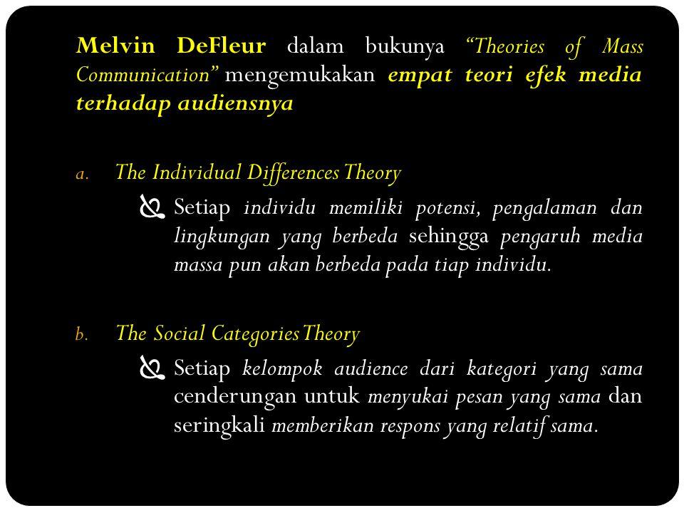 """Melvin DeFleur dalam bukunya """"Theories of Mass Communication"""" mengemukakan empat teori efek media terhadap audiensnya a. The Individual Differences Th"""