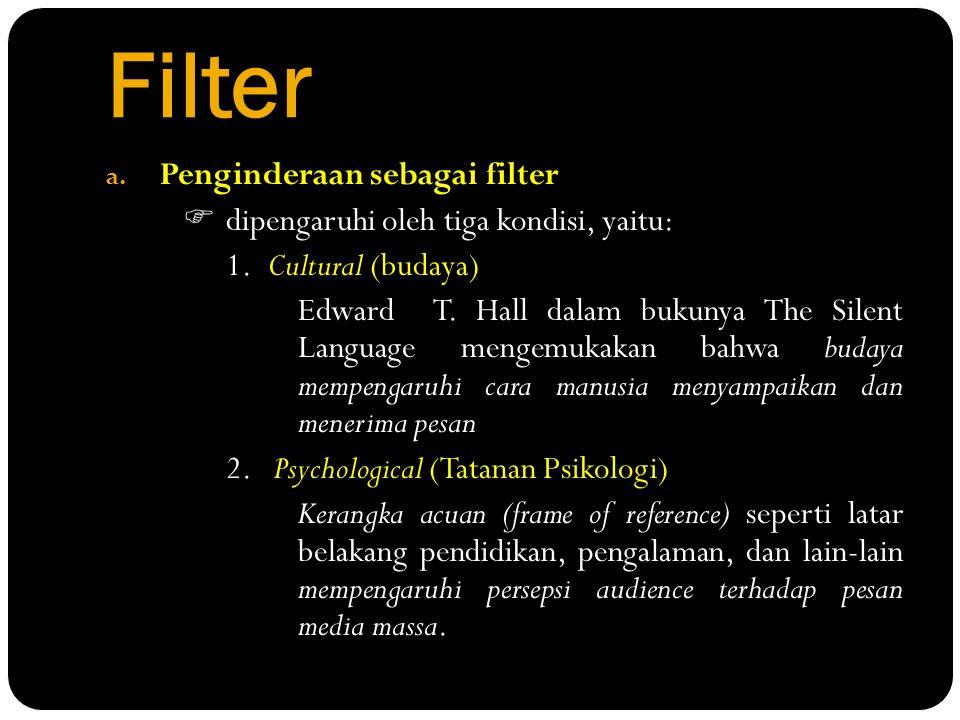 Filter a. Penginderaan sebagai filter  dipengaruhi oleh tiga kondisi, yaitu: 1.Cultural (budaya) Edward T. Hall dalam bukunya The Silent Language men
