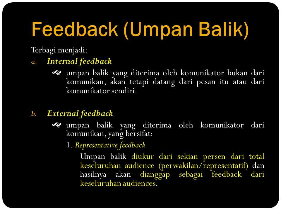 Feedback (Umpan Balik) Terbagi menjadi: a. Internal feedback  umpan balik yang diterima oleh komunikator bukan dari komunikan, akan tetapi datang dar
