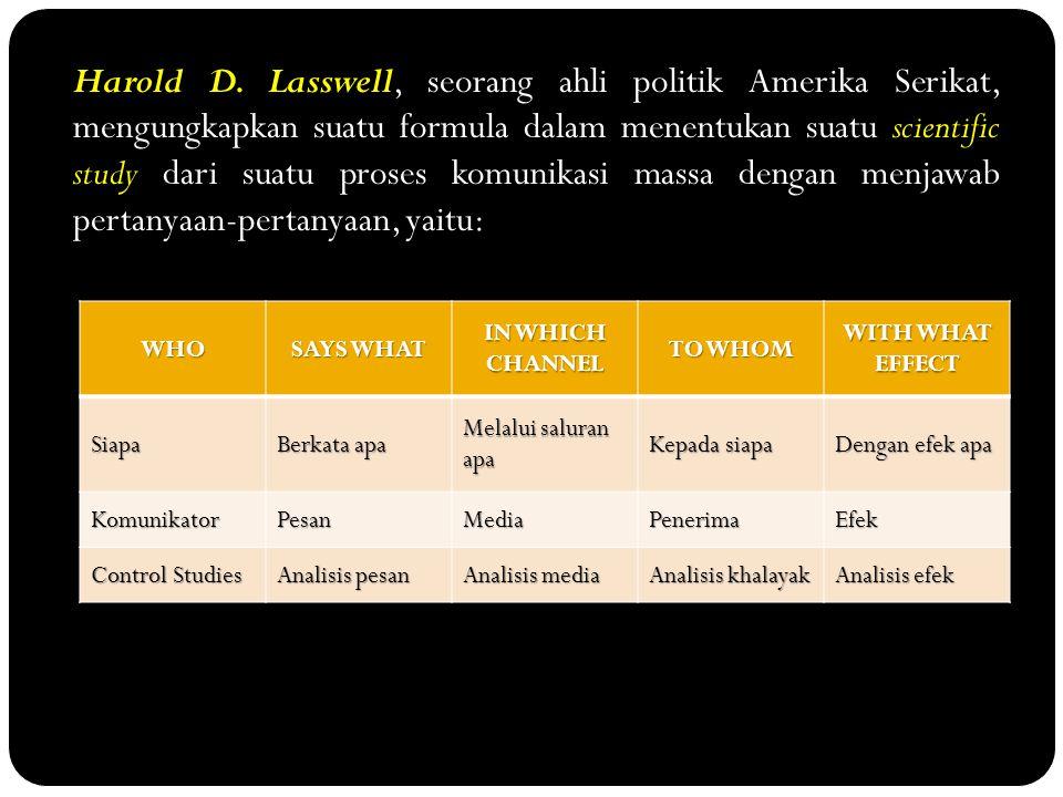Harold D. Lasswell, seorang ahli politik Amerika Serikat, mengungkapkan suatu formula dalam menentukan suatu scientific study dari suatu proses komuni