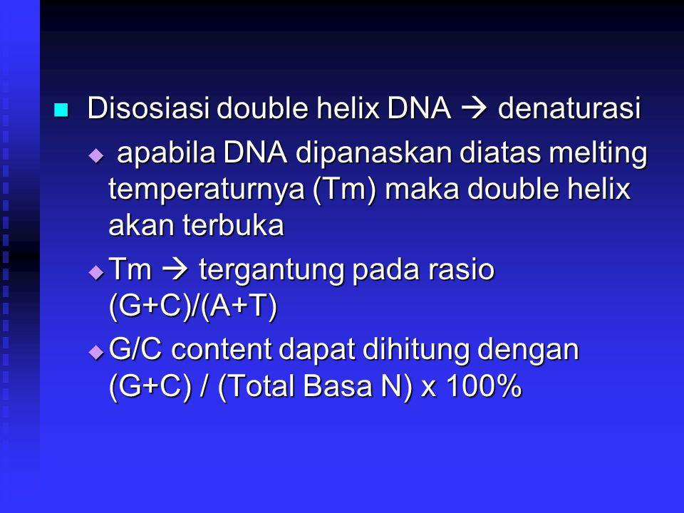 Disosiasi double helix DNA  denaturasi Disosiasi double helix DNA  denaturasi  apabila DNA dipanaskan diatas melting temperaturnya (Tm) maka double