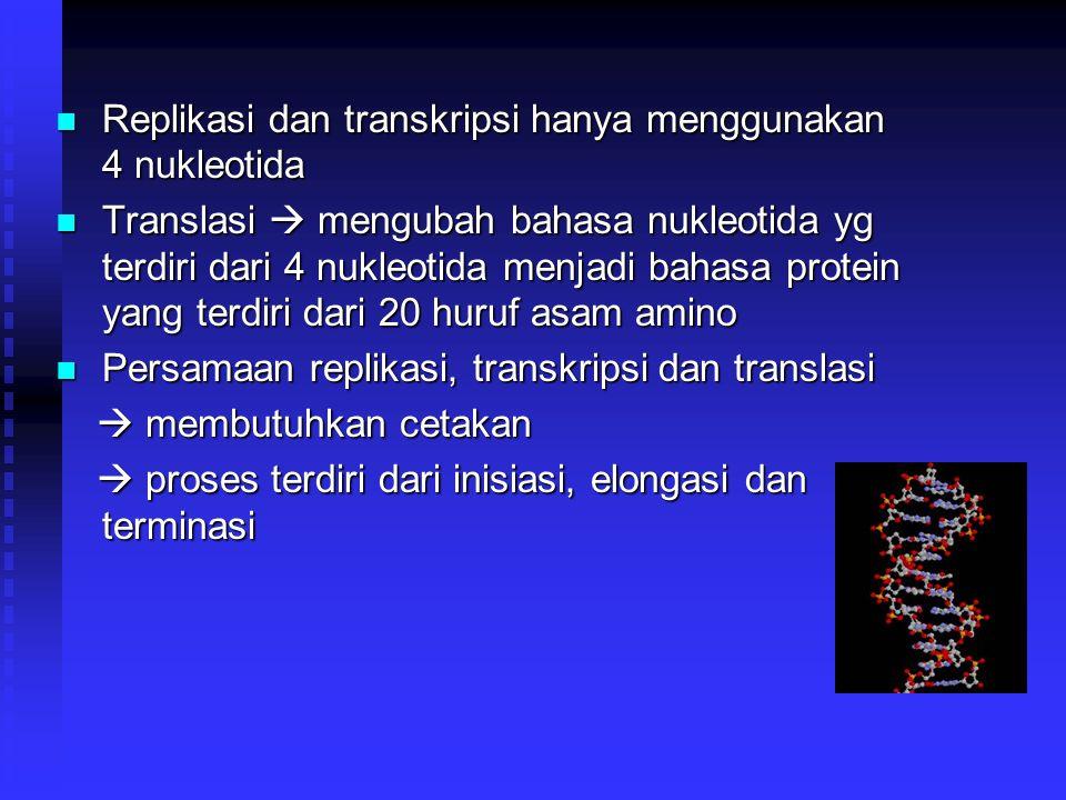 Replikasi dan transkripsi hanya menggunakan 4 nukleotida Replikasi dan transkripsi hanya menggunakan 4 nukleotida Translasi  mengubah bahasa nukleoti