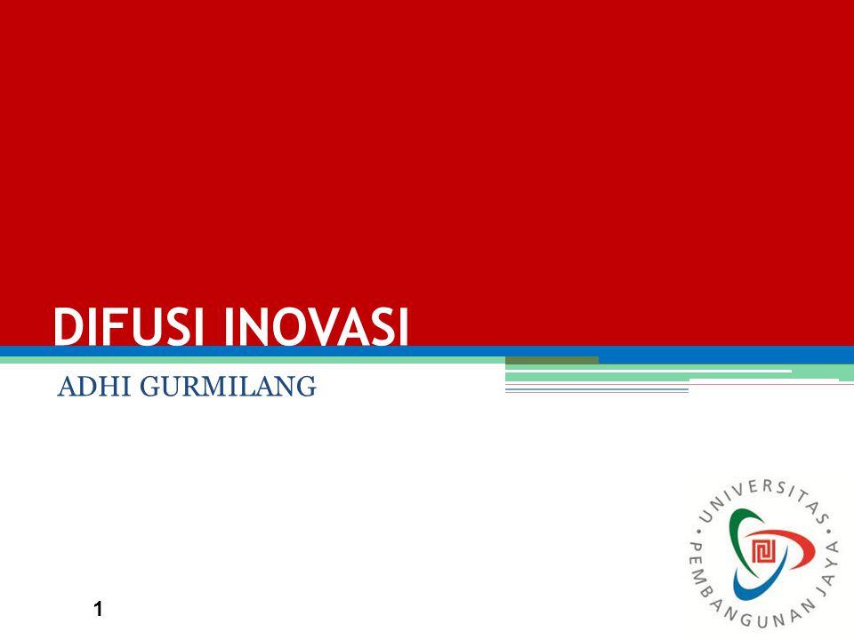 DIFUSI INOVASI Difusi: proses penyebaran produk baru atau inovasi dari sumber kepada publik.