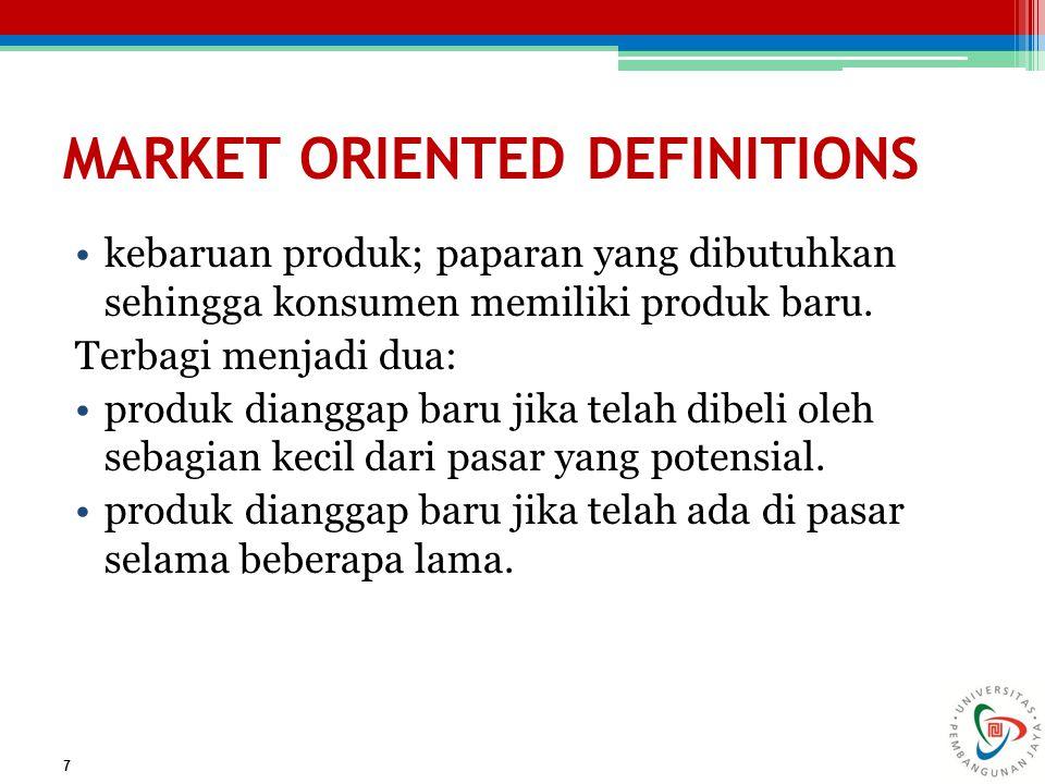 CONSUMER ORIENTED DEFINITIONS setiap produk baru adalah setiap produk yang dianggap baru oleh konsumen.