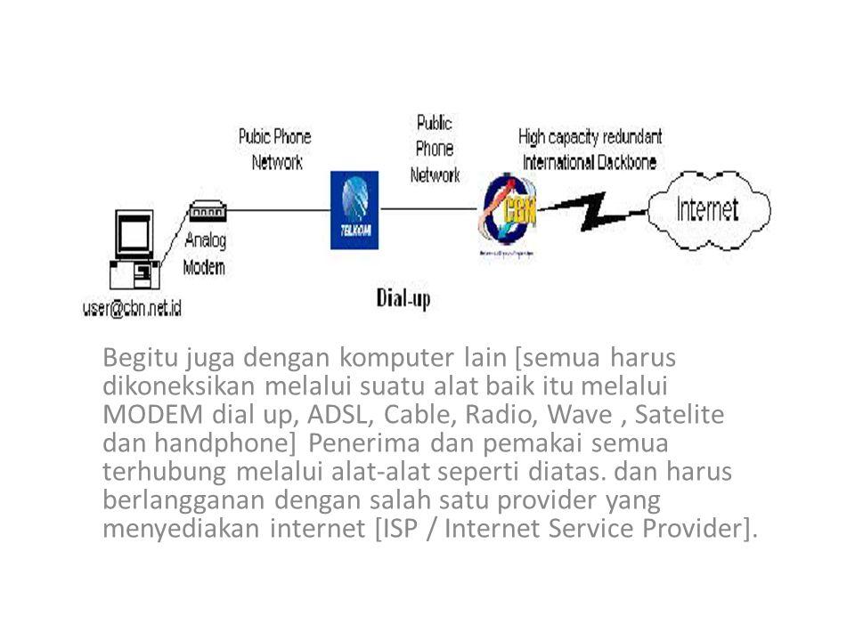Berbagai Jenis Koneksi internet pada umumnya Dial up = Menghubungkan komputer ke internet melalui sambungan jaringan line telepon.