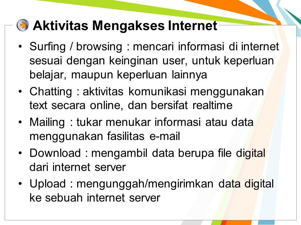 Aktivitas Mengakses Internet Surfing / browsing : mencari informasi di internet sesuai dengan keinginan user, untuk keperluan belajar, maupun keperlua