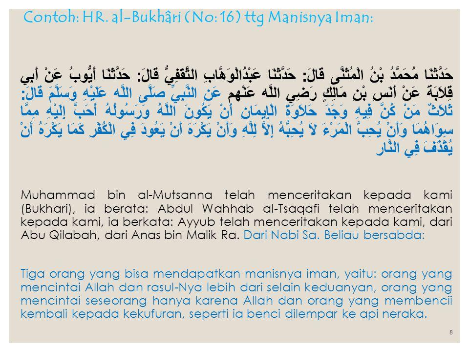 Contoh: HR. al-Bukhâri (No: 16) ttg Manisnya Iman: حَدَّثَنَا مُحَمَّدُ بْنُ الْمُثَنَّى قَالَ : حَدَّثَنَا عَبْدُالْوَهَّابِ الثَّقَفِيُّ قَالَ : حَد