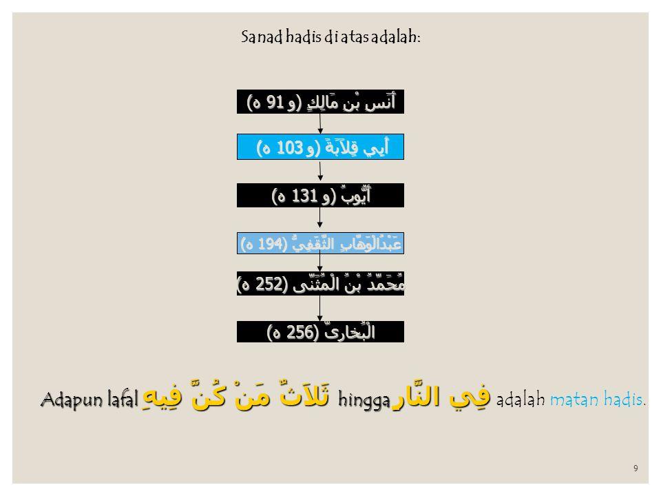 Sanad hadis di atas adalah: 9 أَنَسِ بْنِ مَالِكٍ ( و 91 ه ) أَبِي قِلاَبَةَ ( و 103 ه ) أَيُّوبُ ( و 131 ه ) عَبْدُالْوَهَّابِ الثَّقَفِيُّ ( 194 ه ) مُحَمَّدُ بْنُ الْمُثَنَّى ( 252 ه ) الْبُخارىّ ( 256 ه ) Adapun lafal ثَلاَثٌ مَنْ كُنَّ فِيهِ hingga فِي النَّارِ Adapun lafal ثَلاَثٌ مَنْ كُنَّ فِيهِ hingga فِي النَّارِ adalah matan hadis.