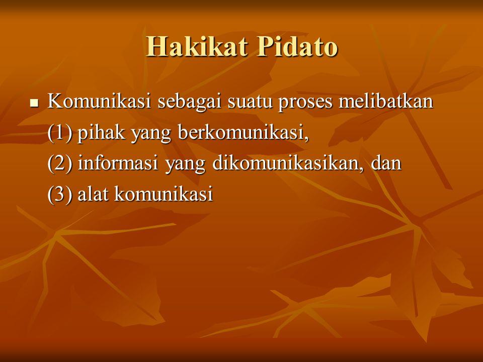 Hakikat Pidato Komunikasi sebagai suatu proses melibatkan Komunikasi sebagai suatu proses melibatkan (1) pihak yang berkomunikasi, (2) informasi yang