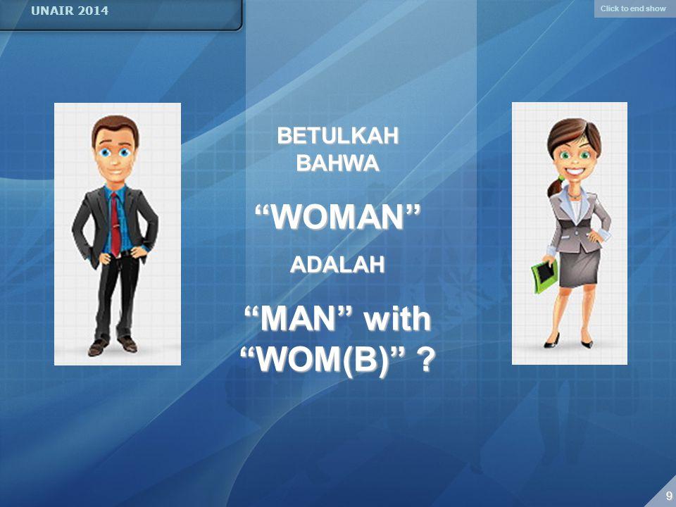 Click to end show UNAIR 2014 9 99 9 BETULKAH BAHWA WOMAN ADALAH MAN with WOM(B) ?