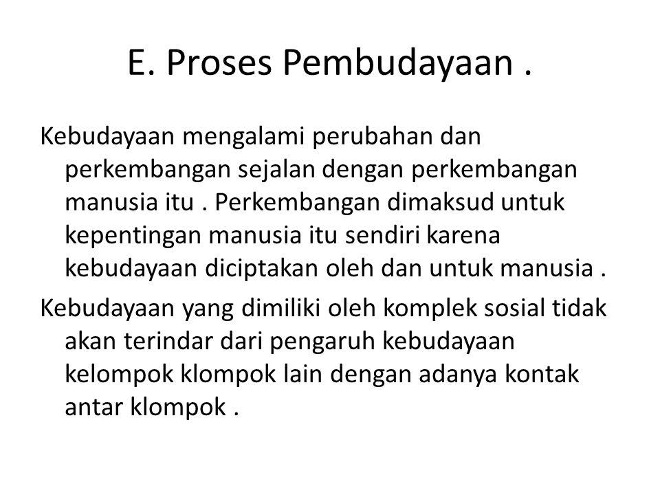 E. Proses Pembudayaan. Kebudayaan mengalami perubahan dan perkembangan sejalan dengan perkembangan manusia itu. Perkembangan dimaksud untuk kepentinga