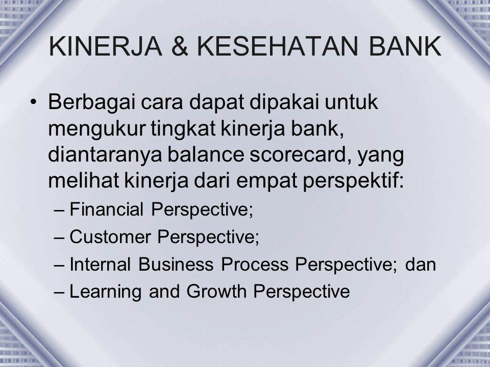 KINERJA & KESEHATAN BANK Berbagai cara dapat dipakai untuk mengukur tingkat kinerja bank, diantaranya balance scorecard, yang melihat kinerja dari emp