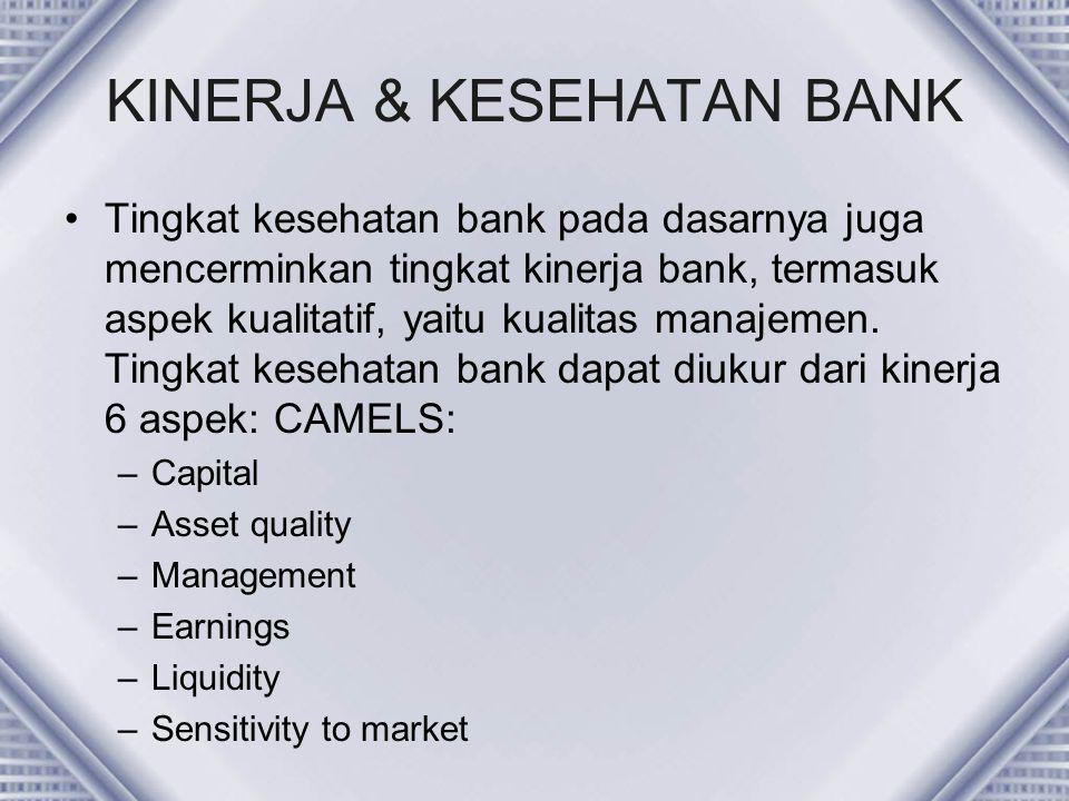 KINERJA & KESEHATAN BANK Tingkat kesehatan bank pada dasarnya juga mencerminkan tingkat kinerja bank, termasuk aspek kualitatif, yaitu kualitas manaje