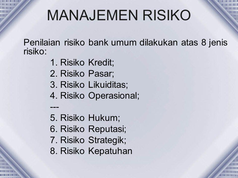 MANAJEMEN RISIKO Penilaian risiko bank umum dilakukan atas 8 jenis risiko: 1. Risiko Kredit; 2. Risiko Pasar; 3. Risiko Likuiditas; 4. Risiko Operasio