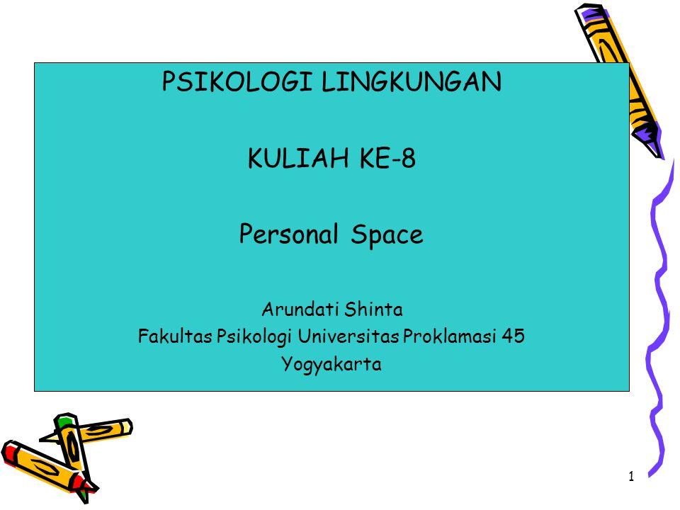 1 PSIKOLOGI LINGKUNGAN KULIAH KE-8 Personal Space Arundati Shinta Fakultas Psikologi Universitas Proklamasi 45 Yogyakarta