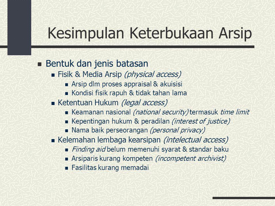 Kesimpulan Keterbukaan Arsip Bentuk dan jenis batasan Fisik & Media Arsip (physical access) Arsip dlm proses appraisal & akuisisi Kondisi fisik rapuh