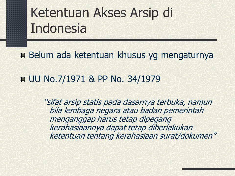 """Ketentuan Akses Arsip di Indonesia Belum ada ketentuan khusus yg mengaturnya UU No.7/1971 & PP No. 34/1979 """"sifat arsip statis pada dasarnya terbuka,"""