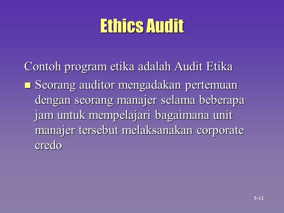 Ethics Audit Contoh program etika adalah Audit Etika n Seorang auditor mengadakan pertemuan dengan seorang manajer selama beberapa jam untuk mempelajari bagaimana unit manajer tersebut melaksanakan corporate credo 5-11