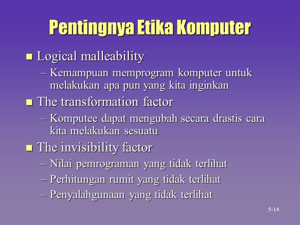 Pentingnya Etika Komputer n Logical malleability –Kemampuan memprogram komputer untuk melakukan apa pun yang kita inginkan n The transformation factor