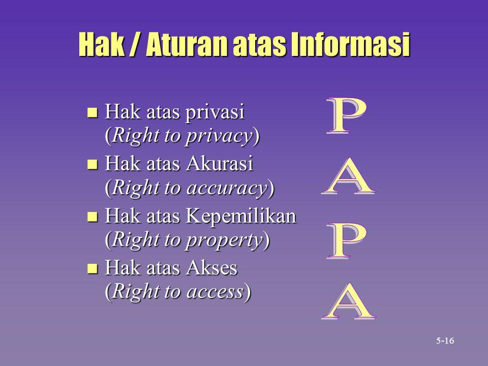 Hak / Aturan atas Informasi n Hak atas privasi (Right to privacy) n Hak atas Akurasi (Right to accuracy) n Hak atas Kepemilikan (Right to property) n Hak atas Akses (Right to access) 5-16
