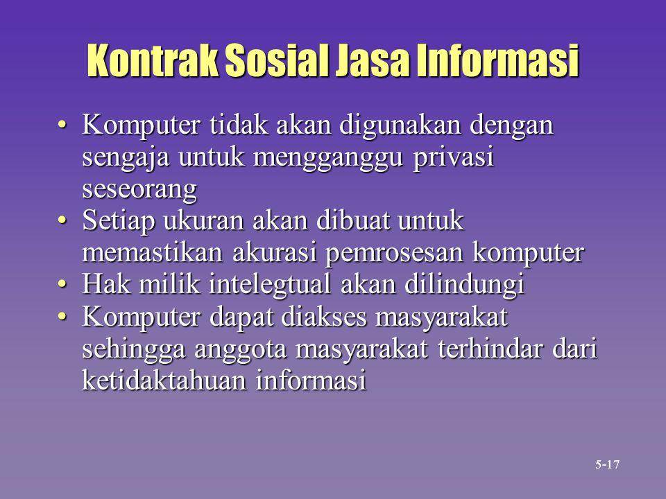 Kontrak Sosial Jasa Informasi Komputer tidak akan digunakan dengan sengaja untuk mengganggu privasi seseorangKomputer tidak akan digunakan dengan seng