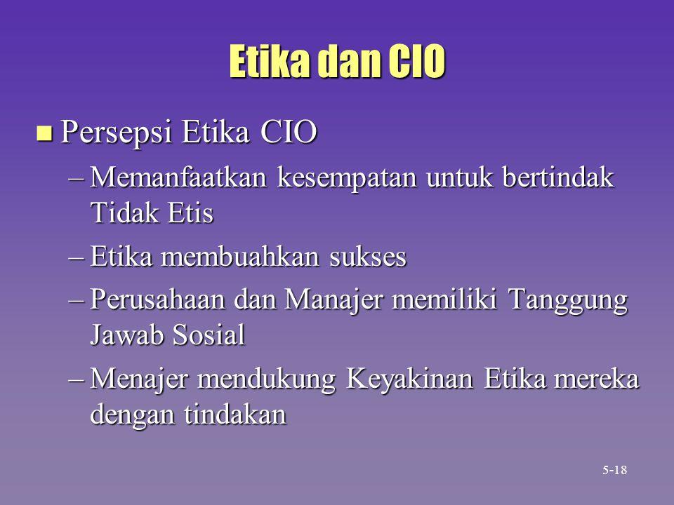 Etika dan CIO n Persepsi Etika CIO –Memanfaatkan kesempatan untuk bertindak Tidak Etis –Etika membuahkan sukses –Perusahaan dan Manajer memiliki Tanggung Jawab Sosial –Menajer mendukung Keyakinan Etika mereka dengan tindakan 5-18