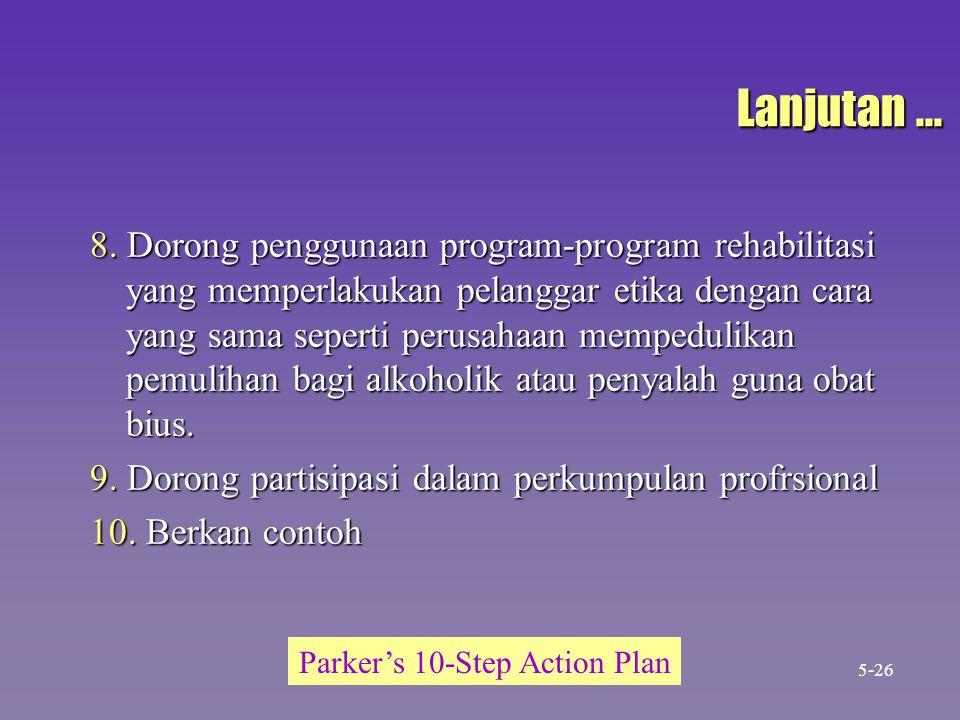 Lanjutan... 8. Dorong penggunaan program-program rehabilitasi yang memperlakukan pelanggar etika dengan cara yang sama seperti perusahaan mempedulikan