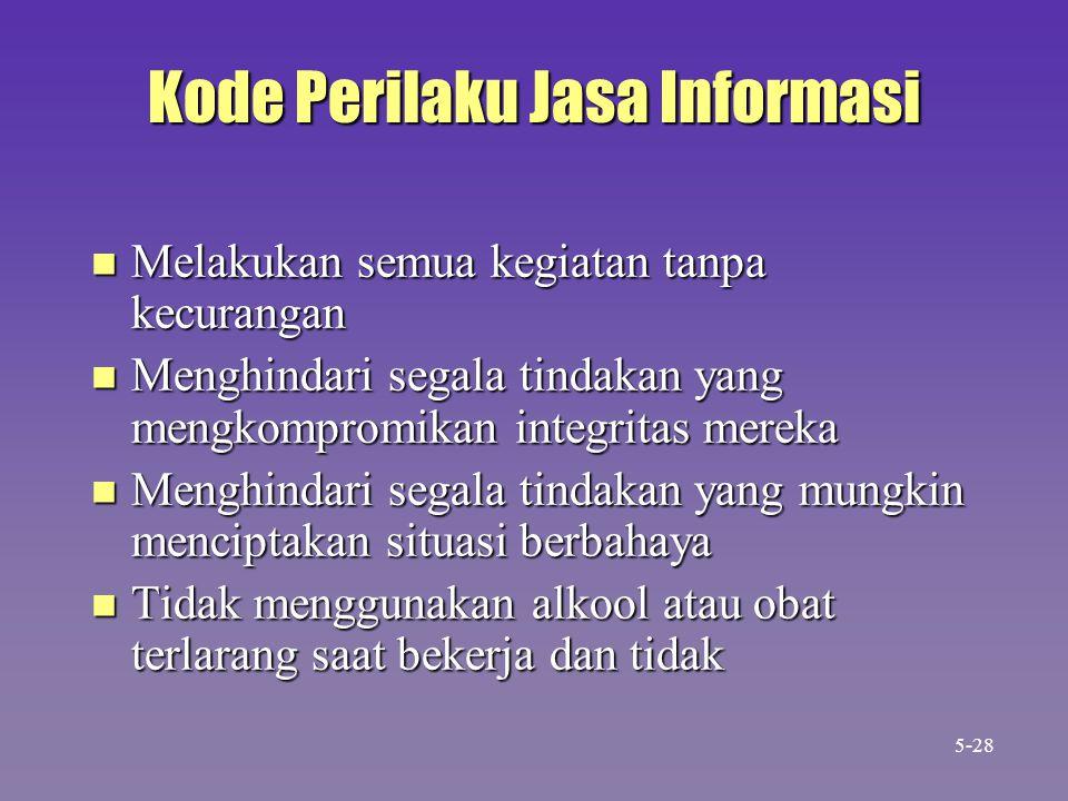 Kode Perilaku Jasa Informasi n Melakukan semua kegiatan tanpa kecurangan n Menghindari segala tindakan yang mengkompromikan integritas mereka n Menghi