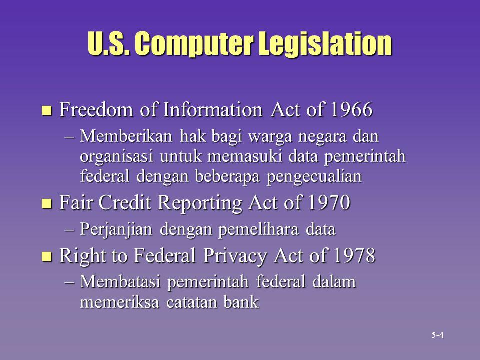 U.S. Computer Legislation n Freedom of Information Act of 1966 –Memberikan hak bagi warga negara dan organisasi untuk memasuki data pemerintah federal