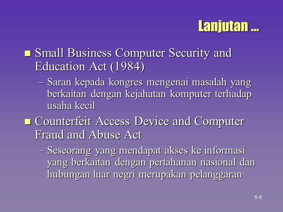 Lanjutan... n Small Business Computer Security and Education Act (1984) –Saran kepada kongres mengenai masalah yang berkaitan dengan kejahatan kompute