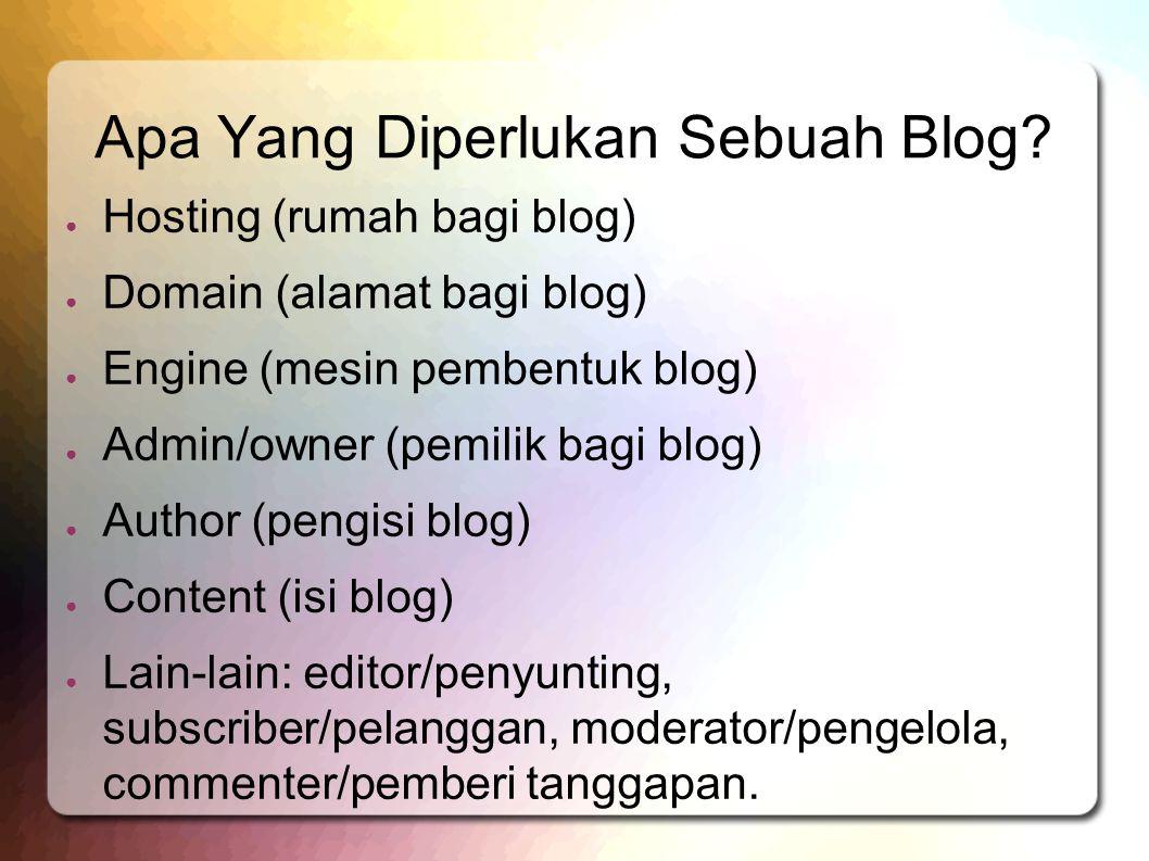 Apa Yang Diperlukan Sebuah Blog? ● Hosting (rumah bagi blog) ● Domain (alamat bagi blog) ● Engine (mesin pembentuk blog) ● Admin/owner (pemilik bagi b