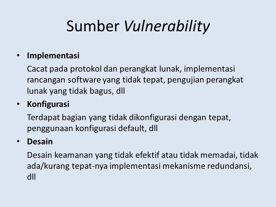 Sumber Vulnerability Implementasi Cacat pada protokol dan perangkat lunak, implementasi rancangan software yang tidak tepat, pengujian perangkat lunak