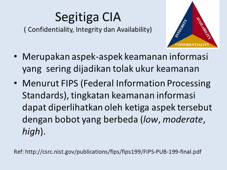 Segitiga CIA ( Confidentiality, Integrity dan Availability) Merupakan aspek-aspek keamanan informasi yang sering dijadikan tolak ukur keamanan Menurut
