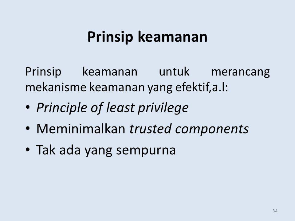 Prinsip keamanan 34 Prinsip keamanan untuk merancang mekanisme keamanan yang efektif,a.l: Principle of least privilege Meminimalkan trusted components
