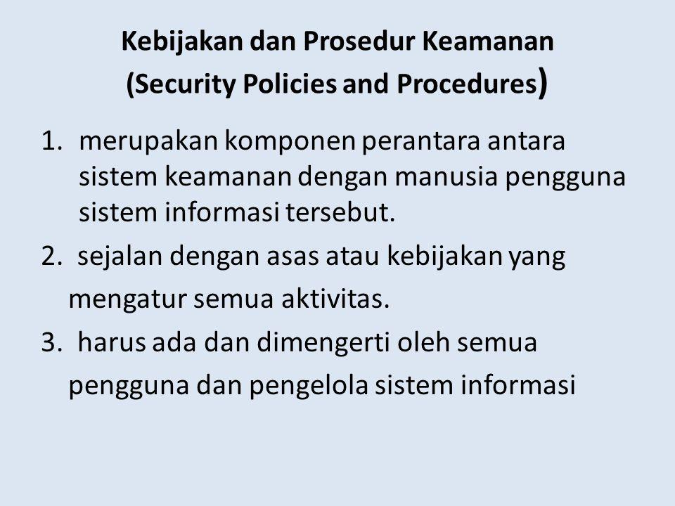 Kebijakan dan Prosedur Keamanan (Security Policies and Procedures ) 1.merupakan komponen perantara antara sistem keamanan dengan manusia pengguna sist
