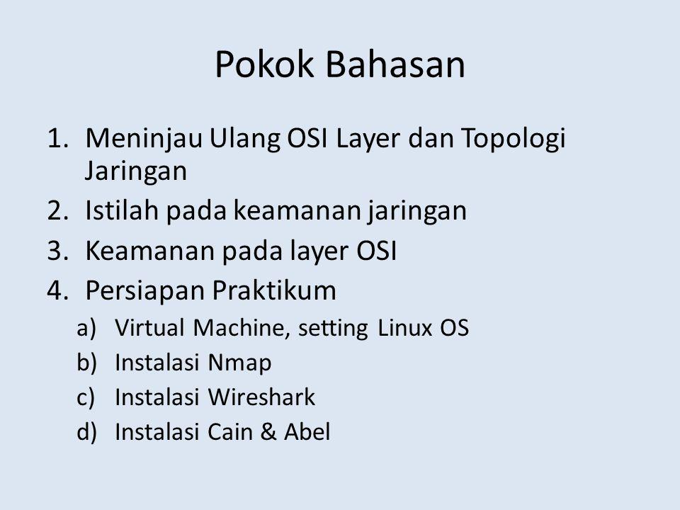 Pokok Bahasan 1.Meninjau Ulang OSI Layer dan Topologi Jaringan 2.Istilah pada keamanan jaringan 3.Keamanan pada layer OSI 4.Persiapan Praktikum a)Virt