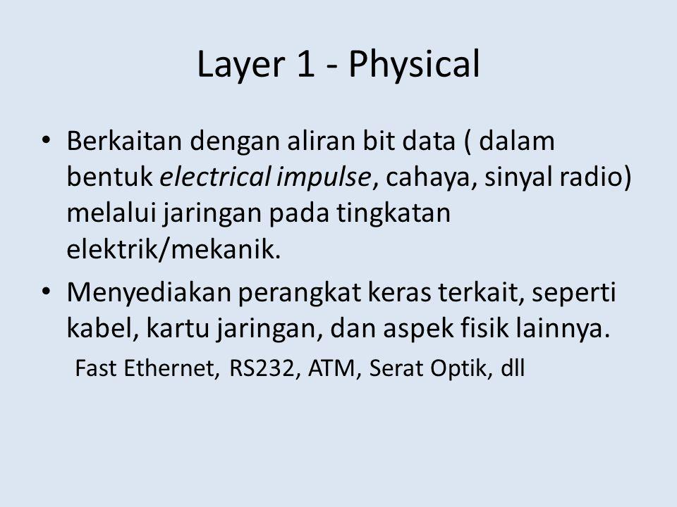Layer 1 - Physical Berkaitan dengan aliran bit data ( dalam bentuk electrical impulse, cahaya, sinyal radio) melalui jaringan pada tingkatan elektrik/mekanik.