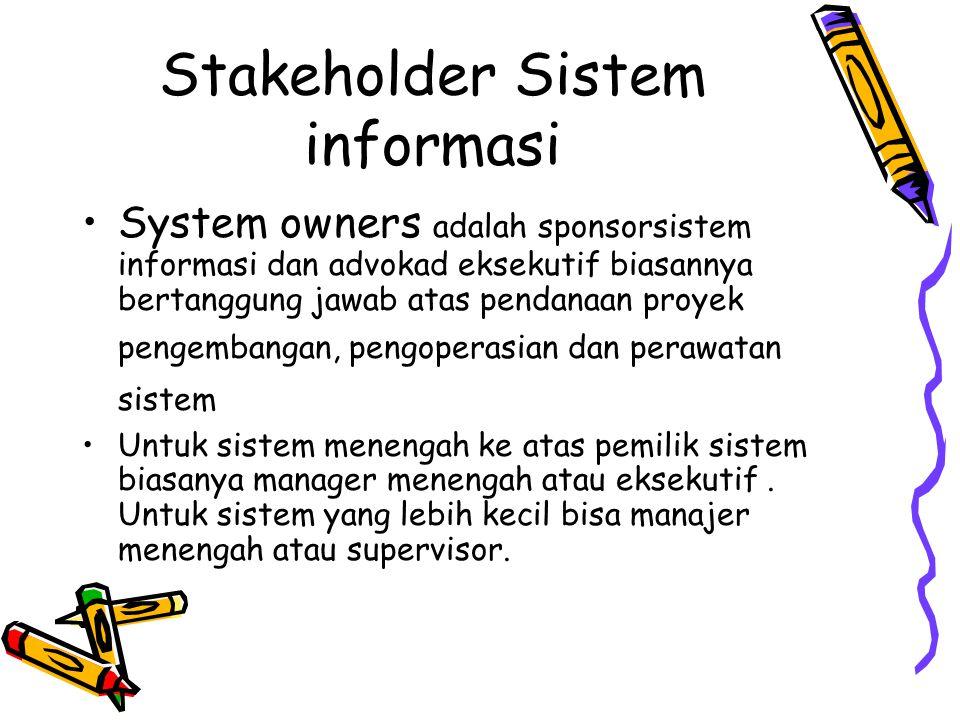 Stakeholder Sistem informasi Stakholder adalah orang yang memiliki ketertarikan pada sistem informasi yang sudah ada atau ditawarkan. Stakholder