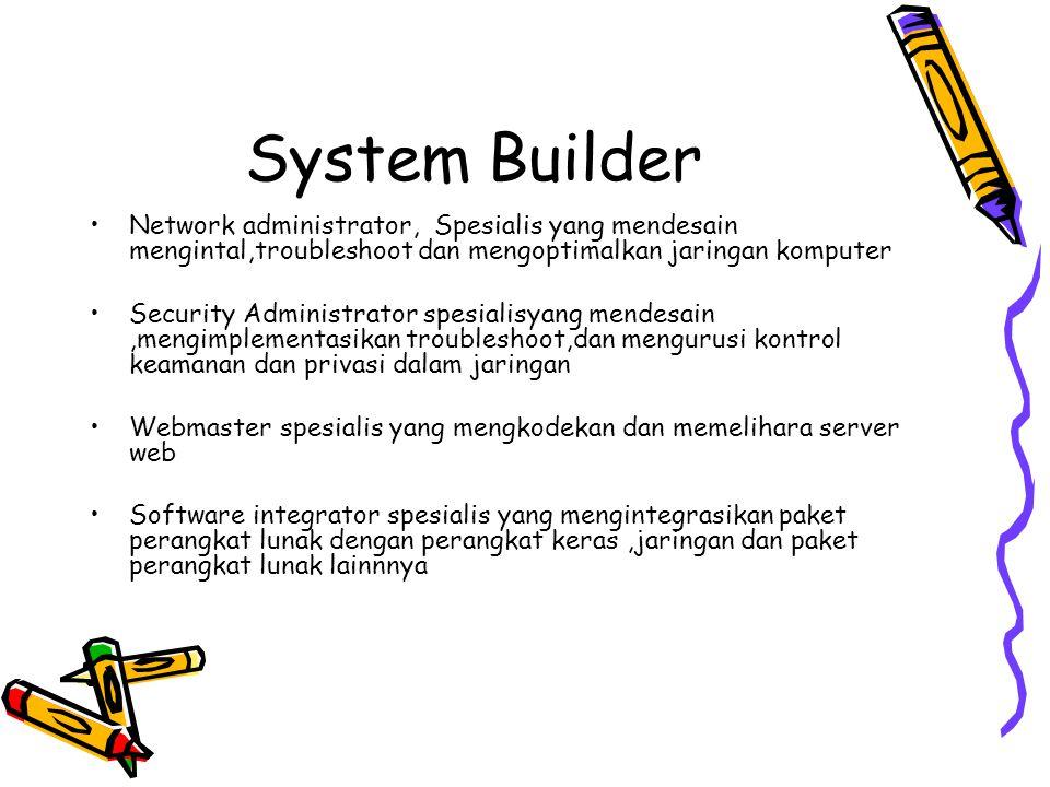 System Builder Adalah spesialis teknis yang membangun sistem informasi dan komponen yang didasarkan pada spesifikasi desain yang dihasilkan oleh desai