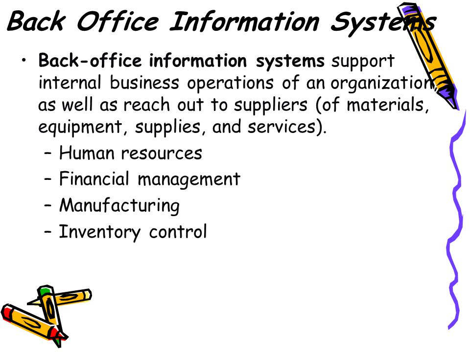 Front Office Information Systems Front-office information systems support business functions that extend out to the organization's customers (or constituents).