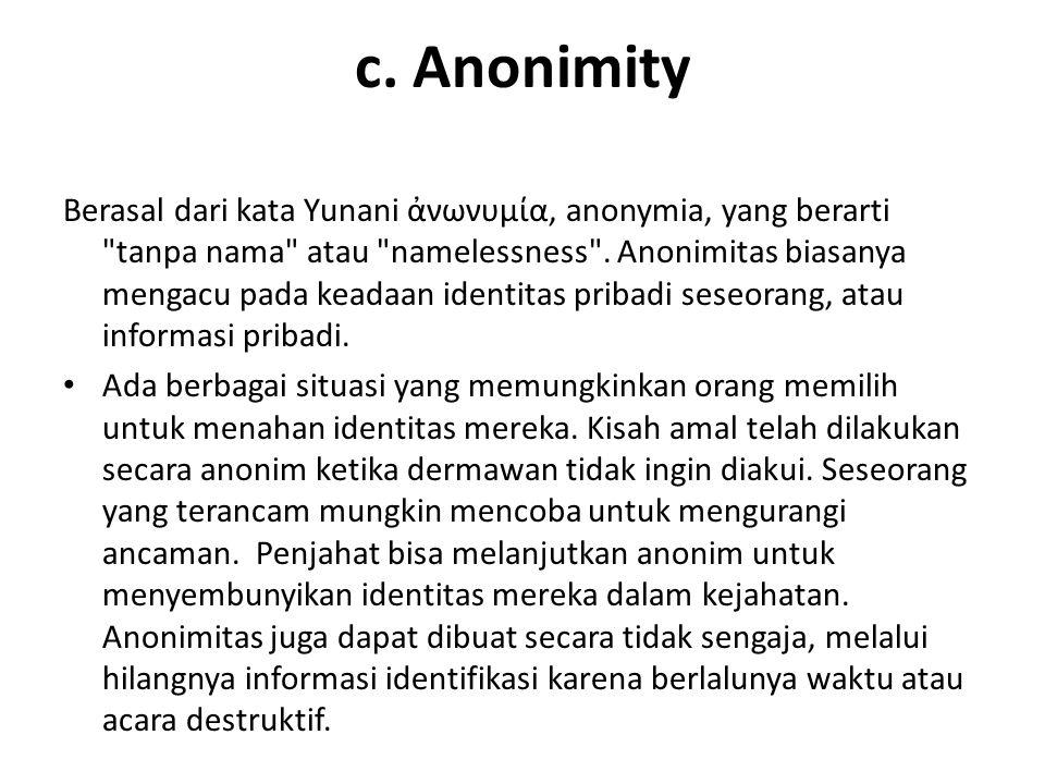 c. Anonimity Berasal dari kata Yunani ἀνωνυμία, anonymia, yang berarti