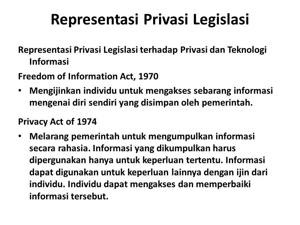 Representasi Privasi Legislasi Representasi Privasi Legislasi terhadap Privasi dan Teknologi Informasi Freedom of Information Act, 1970 Mengijinkan in