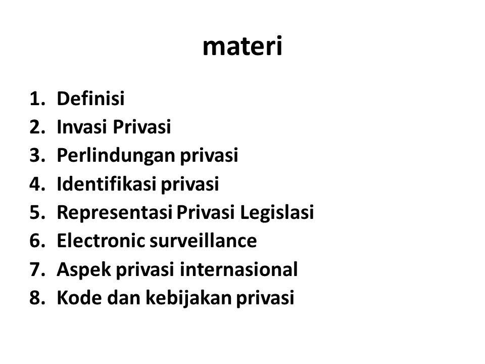 materi 1.Definisi 2.Invasi Privasi 3.Perlindungan privasi 4.Identifikasi privasi 5.Representasi Privasi Legislasi 6.Electronic surveillance 7.Aspek pr