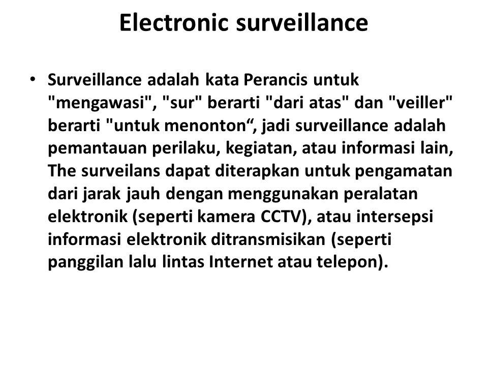Electronic surveillance Surveillance adalah kata Perancis untuk