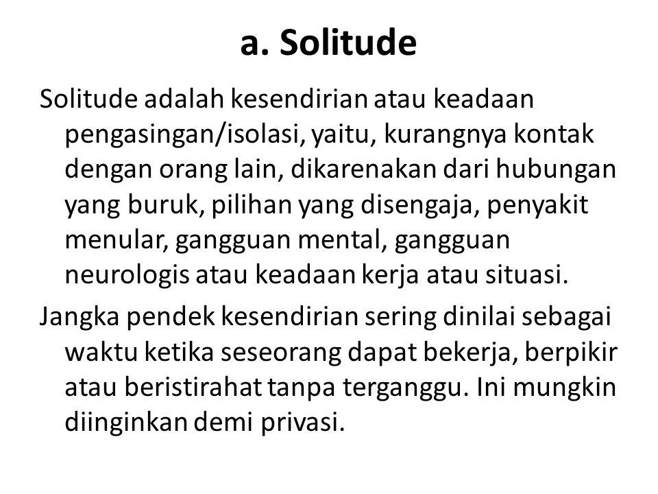a. Solitude Solitude adalah kesendirian atau keadaan pengasingan/isolasi, yaitu, kurangnya kontak dengan orang lain, dikarenakan dari hubungan yang bu