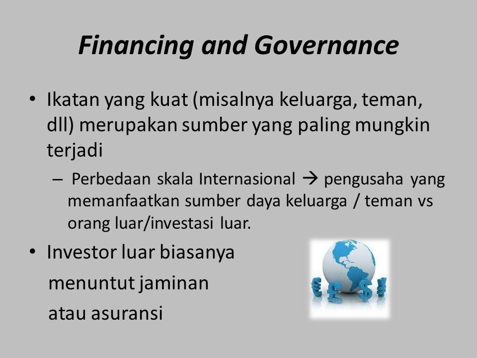 Financing and Governance Ikatan yang kuat (misalnya keluarga, teman, dll) merupakan sumber yang paling mungkin terjadi – Perbedaan skala Internasional  pengusaha yang memanfaatkan sumber daya keluarga / teman vs orang luar/investasi luar.