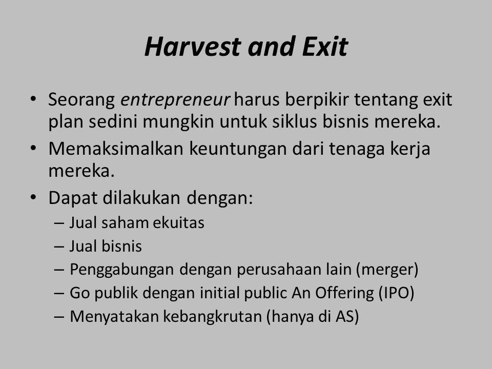 Harvest and Exit Seorang entrepreneur harus berpikir tentang exit plan sedini mungkin untuk siklus bisnis mereka.