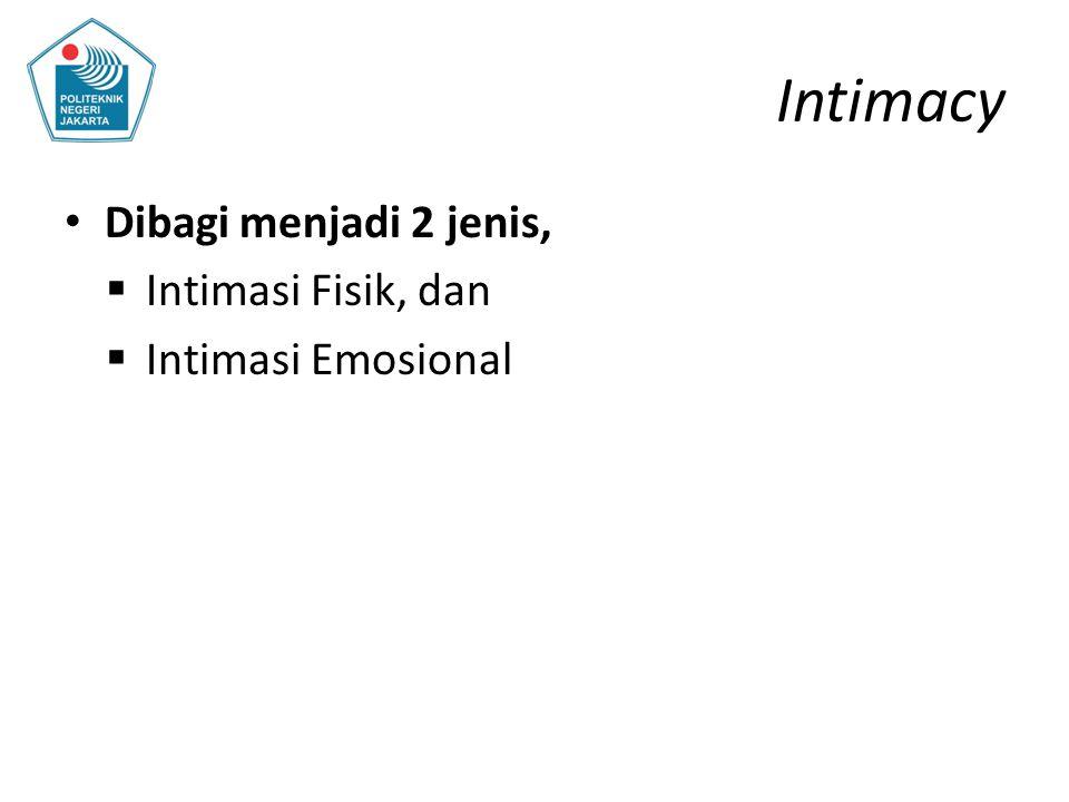 Intimacy Dibagi menjadi 2 jenis,  Intimasi Fisik, dan  Intimasi Emosional